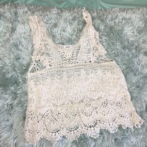 Teenbell see through crochet lace tank top